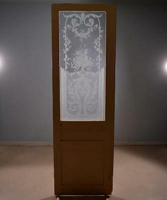Antique French Etched Glass Door with Flowers in an Urn