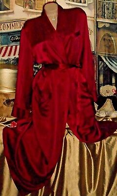 USA S M 100% REAL Silk Robe Long Burgundy Red Dressing Gown Shawl Collar Men's
