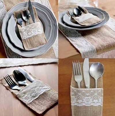 Rustic Wedding Burlap Hessian & Lace Vintage Cutlery Holders / Shower Party