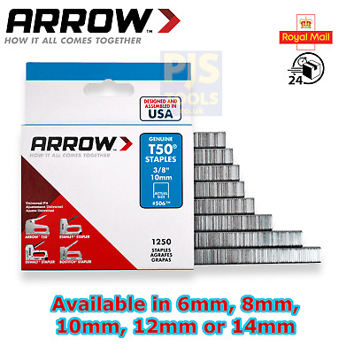 Arrow T50 wire staples 6mm, 8mm, 10mm, 12mm or 14mm packs of 1250