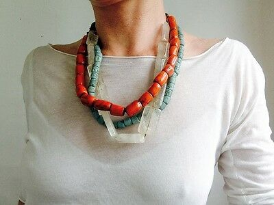 Trio of Antique Coral, Quartz and Glass Trade Bead Necklaces . Nepalese/Tibetan.