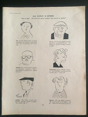 Orig. PUNCH Social Cartoon 'The Nation Is Divided' 1957