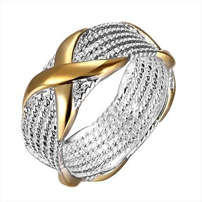 925 Silver Plt Chainmail Mesh Intertwined Gold Band Ring Woven Wicker Thumb C