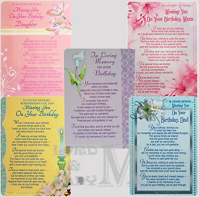 Memorial / In Loving Memory - Graveside BIRTHDAY Family / Friend / Open Card