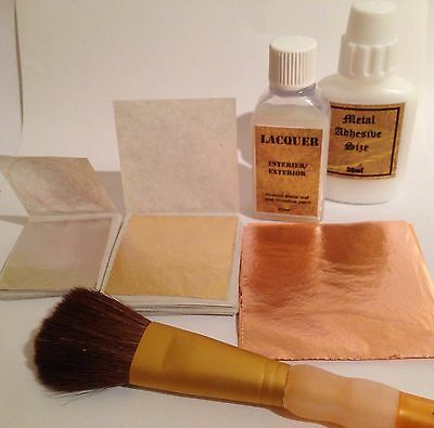 30ml Metal Leaf Kit. Size Glue, Gold, Silver, Copper Sheets,25ml lacquer, Brush