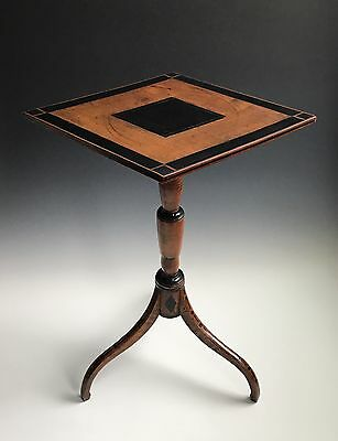 An Antique Ebony Decorated Candlestand Side Table