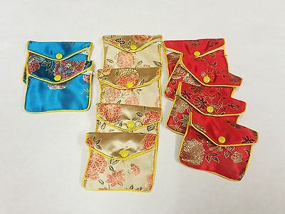 "10 Embroidered Brocade Snap Pouches with Zipper 4"" x 3"". USA Ship"