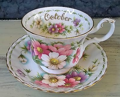 Royal Albert Flower of the Month Tea Cup & Saucer Set October Cosmos