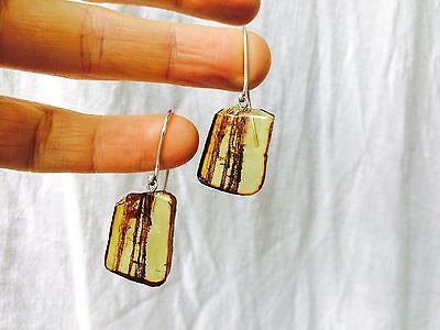 Amber Slab and Sterling Silver Earrings