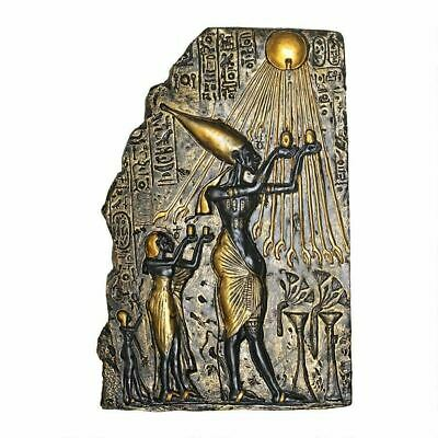 Ancient Egyptian Art Pharaoh Akhenaten Offering to Aten the Sun Wall Sculpture