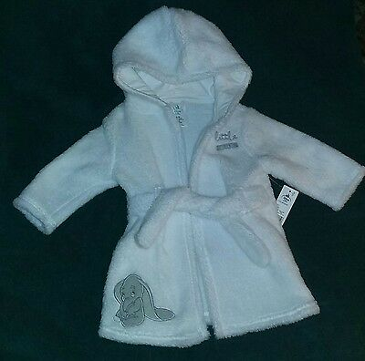 Disney Baby 6-9 Month Dumbo Flying Elephant White Plush Hooded Bath/Swim Robe