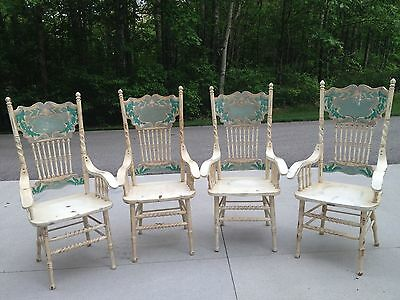 Oak Distressed Antiqued Chalk Paint Dining Room Chairs White Blue Teal Cream