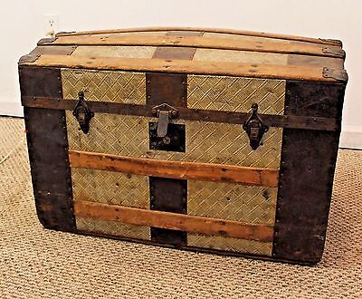 Antique Victorian Dome Top Metal/Tin Steamer Trunk/Chest #2
