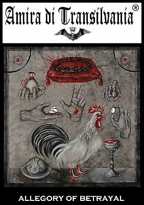 Rooster & cock allegory of betrayal signed artist painting Masonic objects hands
