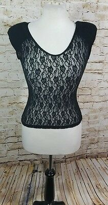 NEW Silhouette Shapes Stretch Lace Camisole Dolman Black Vtg One Size