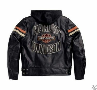 Harley Davidson Mens Classic Enthusiast Black Leather Jacket 3 in 1 L 97070-09VM