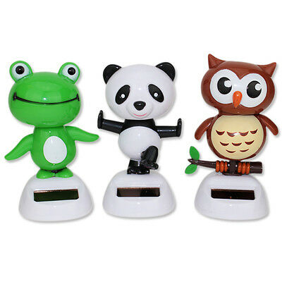 Set 3 Kong Fu Panda, Baby Owl, Greed Frog Solar Bobble Head Toys