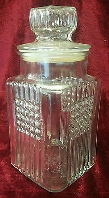 """Large 10"""" KOEZE'S Square Clear Glass Jar  with Lid 1991- VERY NICE!"""