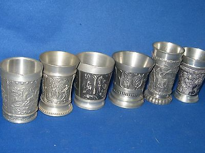 6 Different Scenes Antique German Pewter Embossed & Engraved  Shooters Very Nice