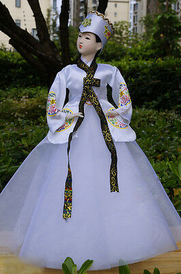40cm/15.74'' Vintage Korea Hanbok Figurine Exquisite Asian Doll Collectible-1602
