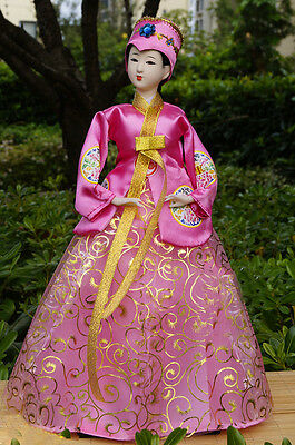 40cm/15.74'' Ancient Korea Hanbok Figurine Beauty Bride Asian Doll Gift-1604