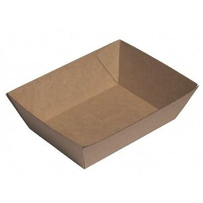500 x Brown Corrugated Cardboard Paper TRAY 1 Cake Food Chips Canapes Takeaway