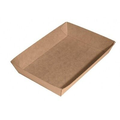 250 x Brown Corrugated Cardboard Paper TRAY 4 Cake Food Chips Burger Takeaway