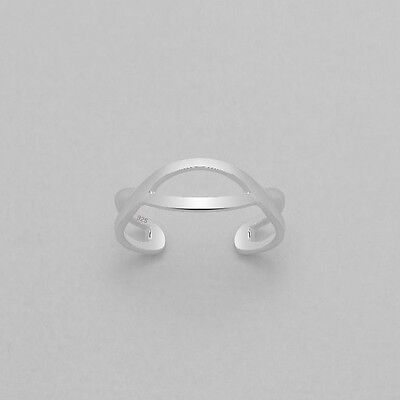 TJS 925 Sterling Silver Hollow Infinity Design Toe Ring Adjustable Jewellery