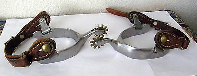 1950's Heavy Cowboy/cowgirl Spurs Extra Nice Used With Leathers Quality