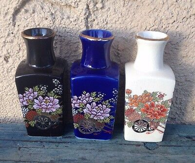 Nice Set Of 3 Small Ceramic Pottery Japanese Mini Floral Vases Marked Japan