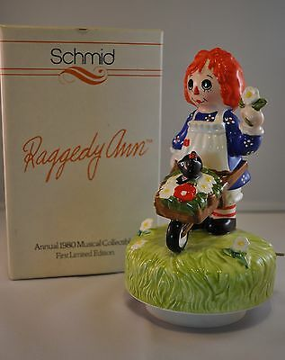 Limited Edition 1980 Schmid Handpainted Raggedy Ann Music Box Collectible