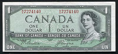 """1954 $1 One Dollar Bank Of Canada """"Devils Face"""" Banknote About Uncirculated"""