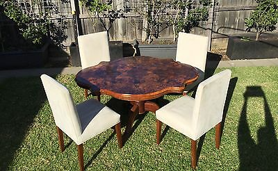 Antique Burr Walnut Tilt / Loo Dining Table & FREE  Chairs (Table RRP $1495)