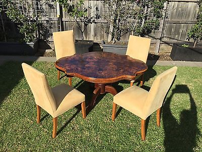 Antique Burr Walnut Tilt / Loo Dining Table & 4 FREE Chairs (TABLE RRP $1495)