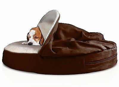 Furhaven SNUGGERY BURROW PET BED Round Dog Cat FAUX-SHEEPSKIN BROWN- 89cm