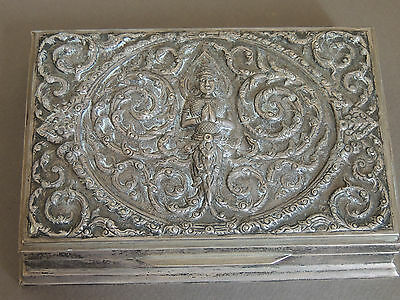 Antique Indian/burmese Solid Silver Cigarette/cigar, Mythical  Box