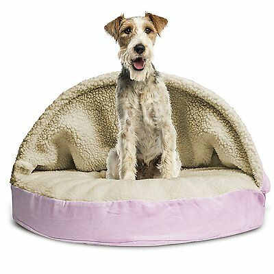 Furhaven SNUGGERY BURROW PET BED Round Dog Cat FAUX-SHEEPSKIN PINK- 89cm