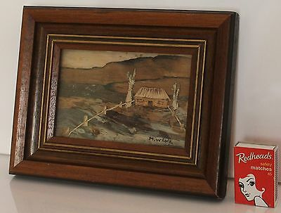 Bark Art Original Picture Hut Rural Landscape Wooden Frame signed M Weber x