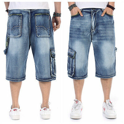 Mens Loose Denim Cargo Combat Summer  Casual Long Shorts Jeans Size 32 To 46