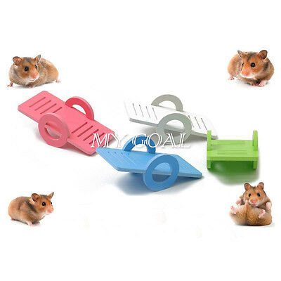 Hamster Wooden Bridge Seesaw Swing House Rat Parrot Harness Small Animal Toys