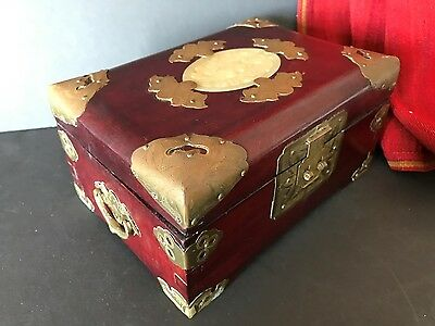 Old Chinese Rosewood Jewelry Box with Brass Fittings Lock & Corners…