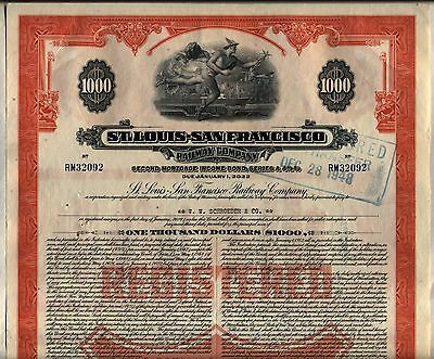 $1,000 St. Louis San Francisco Railway Bond Stock Certificate Frisco Railroad