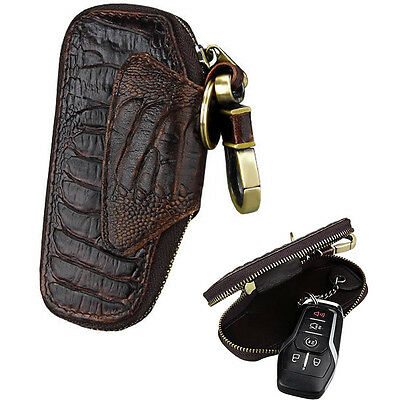 New Cow Leather Bag Keychain Zipper Case Pouch Car Key Wallets Holders Brown