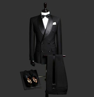 New Custom Made Black Men Suits Double Breasted Slim Fit Best Man Wedding Suits