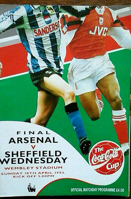 Arsenal V Sheffield Wednesday 18/4/1993 League Cup Final