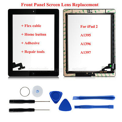 Touch Screen Glass Lens Digitizer Replacement+IC chip+Home+Tools For iPad 2