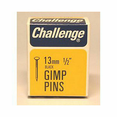 "Challenge Gimp Pins - Black (Box Pack 30g) 13mm    1/2 ""  Fixings"