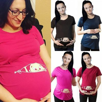 Cute Baby Print Staring Women Maternity Pregnant Short Sleeve T-shirt Loose Tops