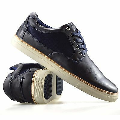 Mens New Lace Up Casual Walking Boat Deck Faux Leather Suede Trainers Shoes Size