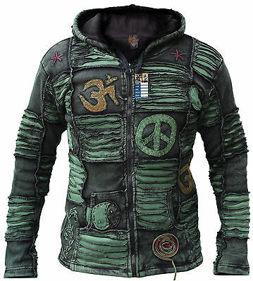 Men Jacket Ribs Psychedelic Gothic Om Fleece lined Embroidery Elf Pointed Hoodie